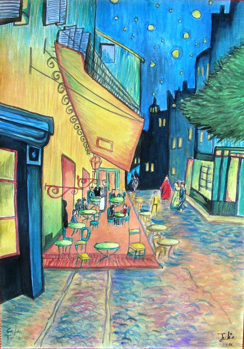 Julia S Brushwork Terraza De Café Por La Noche Vincent Van