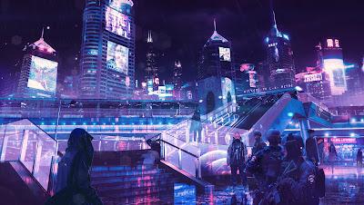Ciudad morada futurista con agentes de élite