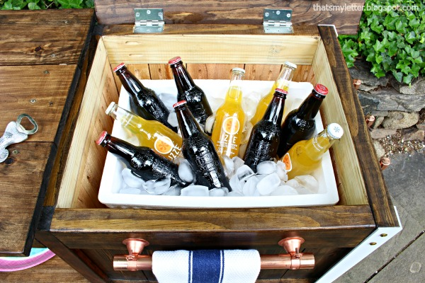diy bar cart with cooler storage