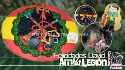 Galleta personalizada fondant legión legionario san valentín Laia's Cupcakes Puerto Sagunto