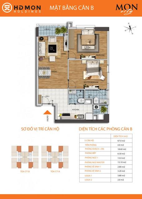 Căn hộ B chung cư Mon city Mỹ Đình- 67 m2 thông thủy