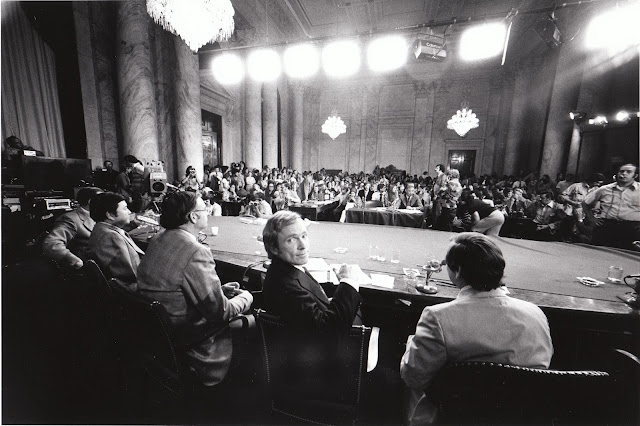 Dick Cavett's Watergate on location in the Senate Watergate Committee hearing room (August 1, 1973) left to right: Senator Herman Talmadge, Senator Daniel Inouye, Senator Lowell Weicker, Dick Cavett, and Senator Howard Baker
