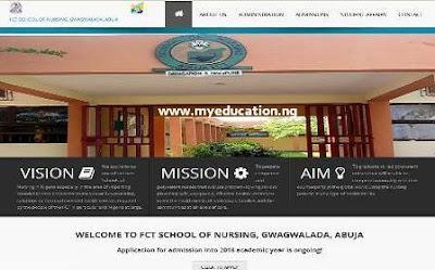 FCT School of Nursing Admission Form 2018/2019