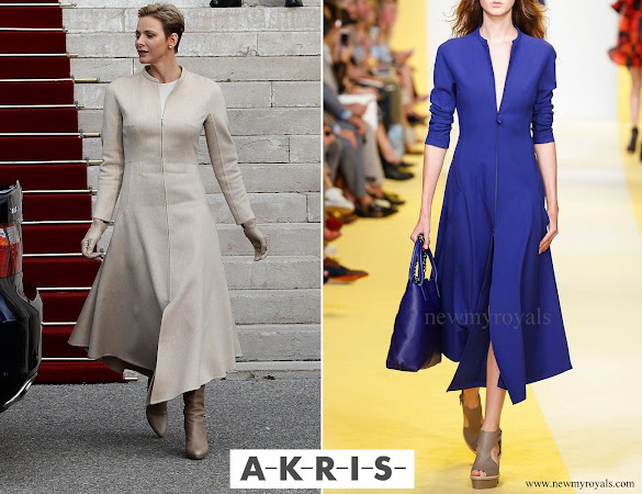 Princess Charlene wore Akris Long Sleeve Zip Front Midi Dress