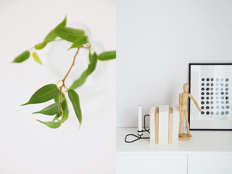 Sideboard skandinavisch dekoriert in Schwarz/ Weiß und mit Naturtönen und einem Tupfer Grün | Die Anleitung für den Print gibt es auf dem Blog Tasteboykott