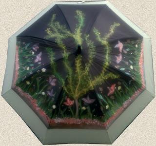 Originales paraguas pintados a mano por Talentox2 Moda, diseños exclusivos, éste modelo Colores del Otoño.