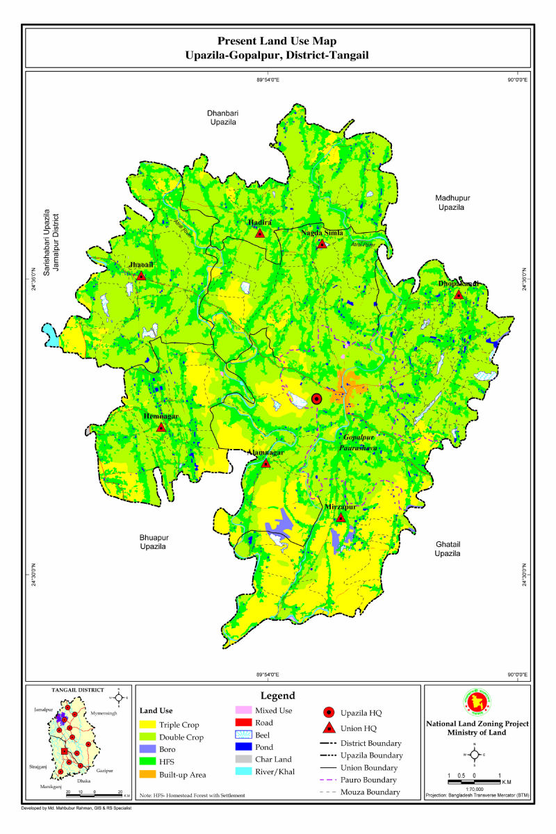Gopalpur Upazila Mouza Map Tangail District Bangladesh