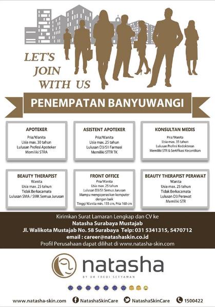 Lowongan Kerja Natasha Skin Clinic Center Penempatan Banyuwangi