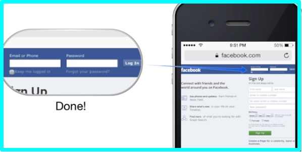 facebook desktop version login iphone