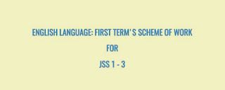 ENGLISH LANGUAGE: First term's scheme of work for JSS 1 - 3