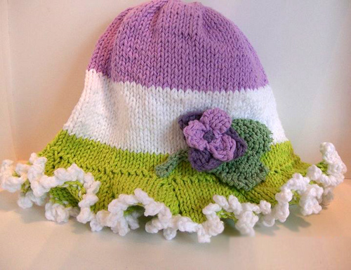 Knit Cotton Sun Hat with Flower Appliques - Free Pattern