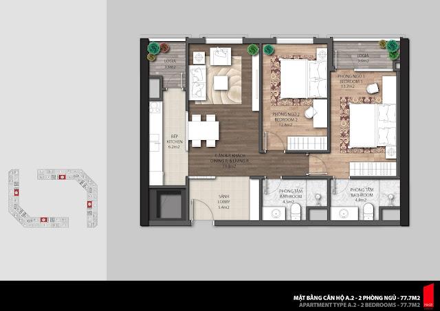 Thiết kế căn A2 - 77,7m2 chung cư The Emerald