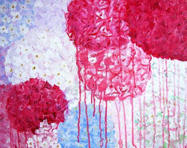 jennifer latimer artist art painting pink hydrangeas