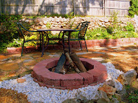 Firepit and flagstone patio desinged by Susan Golis