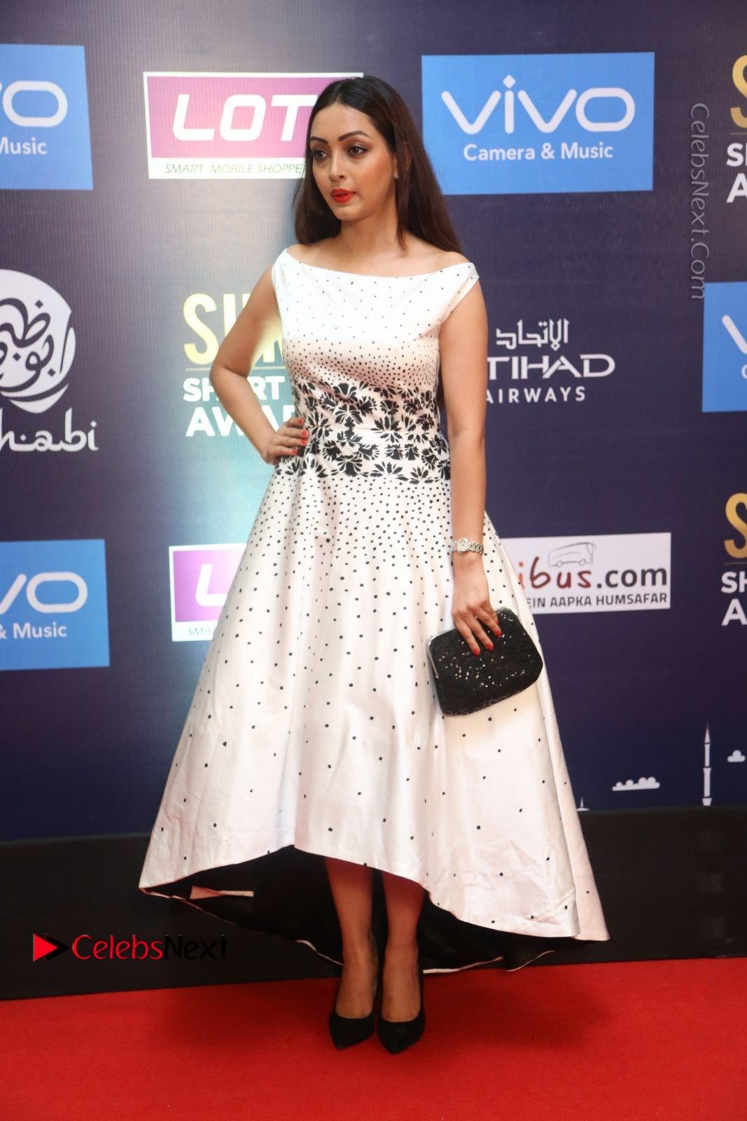 Pooja Salvi Stills in White Dress at SIIMA Short Film Awards 2017