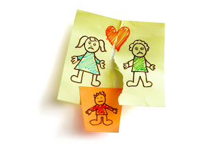 illustration of child custody issues, with mom, dad and child drawn on separate postit notes with tears between them.