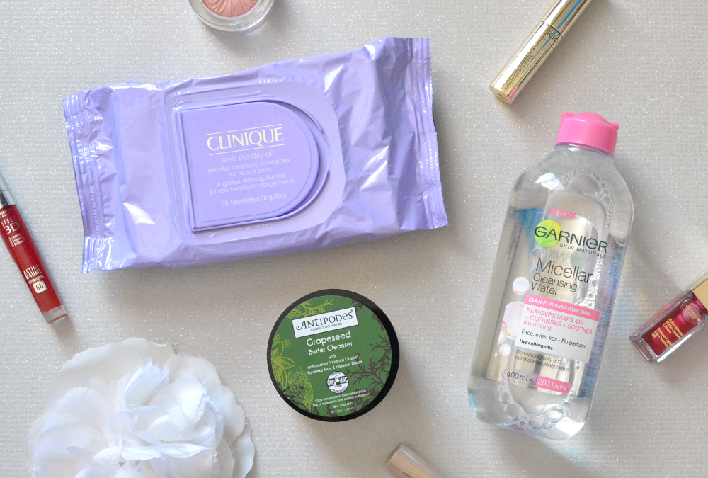 Clinique, Antipodes, Garnier, Clinique take the day off towlettes, Garnier micellar cleansing water, Antipodes grapeseed butter cleanser, Review,