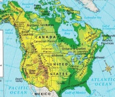 United States And Canada Physical Map