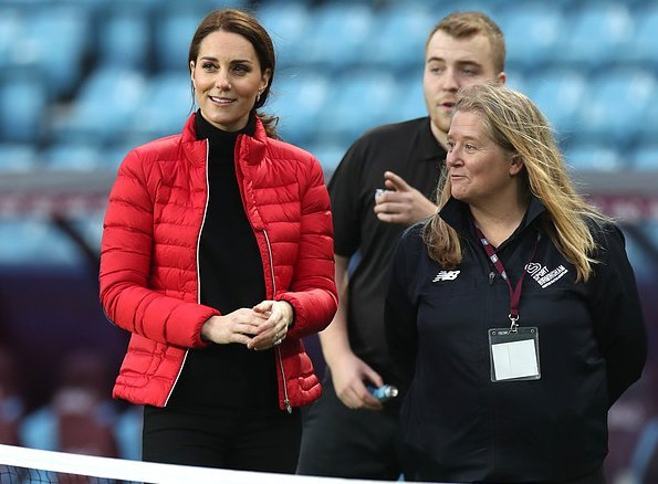 Kate Middleton wore Goat Washington coat, Kiki McDonough earrings, Russell & Bromley boots, Mulberry clutch