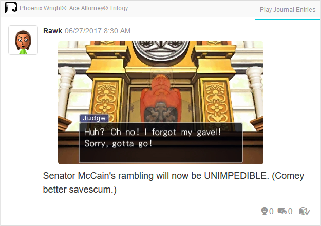 Judge gavel John McCain James Comey Phoenix Wright Ace Attorney Trilogy 3DS Miiverse Capcom Nintendo