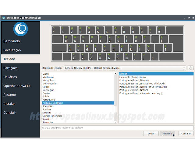 Selecione o layout do seu teclado