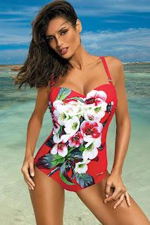 Costum de baie intreg cu push-up rosu cu imprimeuri florale •