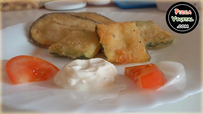 Verduras empanadas con vegenesa