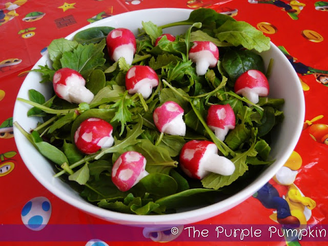 Piranha Plant & Super Mushroom Salad | The Purple Pumpkin Blog