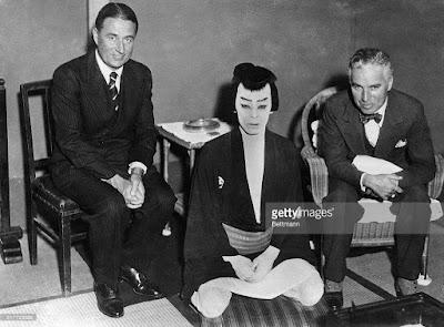Чарли Чаплин, Сид Чаплин и Китиэмон Накамура I, Япония, 1932 г.