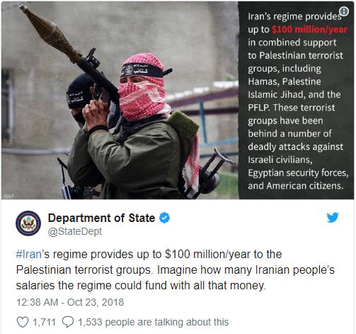 Bộ Ngoại giao Hoa Kỳ công bố Thống kê các khoản tiền Iran tài trợ Khủng bố hằng năm lên đến 100 triệu Mỹ Kim