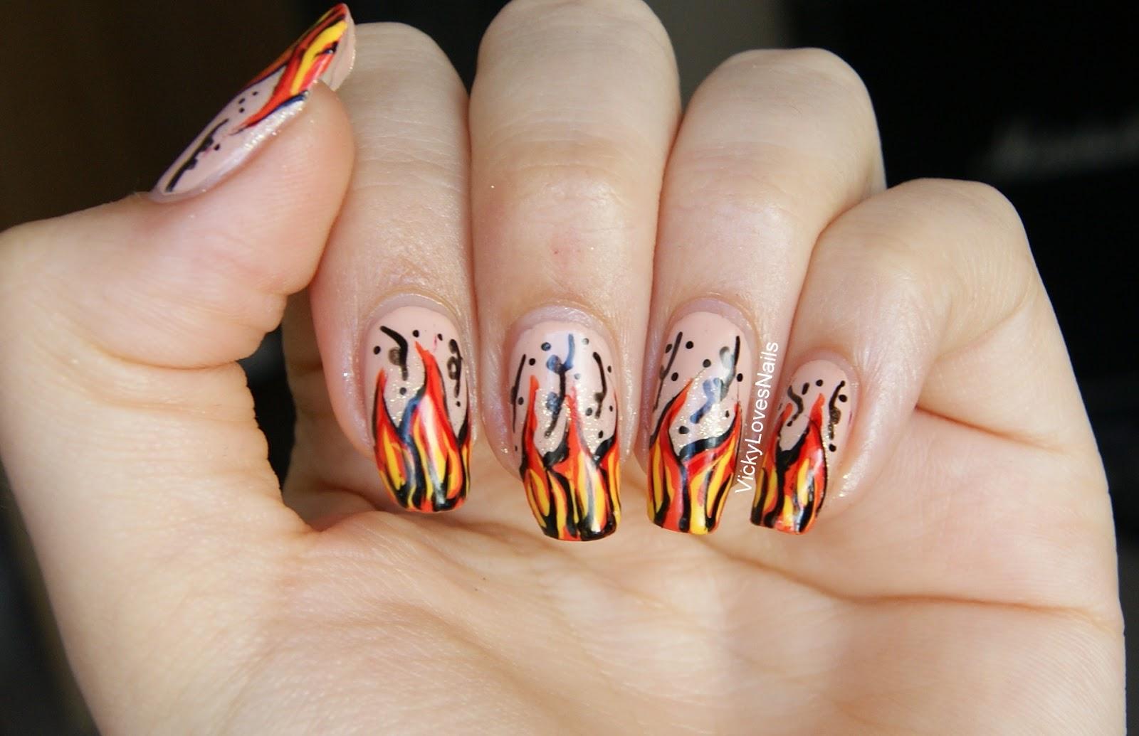 Vicky Loves Nails!: Flame Nail Art.