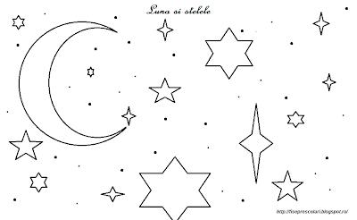 Planse De Colorat Cu Luna Si Stelele Gradinita Fise De