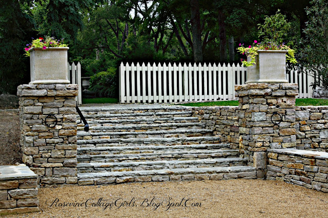 Stone stairs up to the upper gardens at the Belle Meade Plantation | RosevineCottageGirls.com