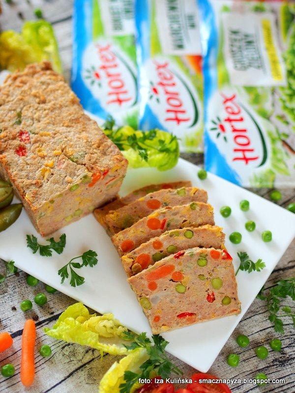 keks wytrawny, pieczen z miesa mielonego, mrozone warzywa, mrozonki, hortex, groszek, marchewka, mieszanka kwiatowa, do chleba