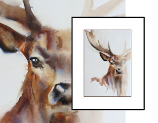 original watercolour painting of stag art artist