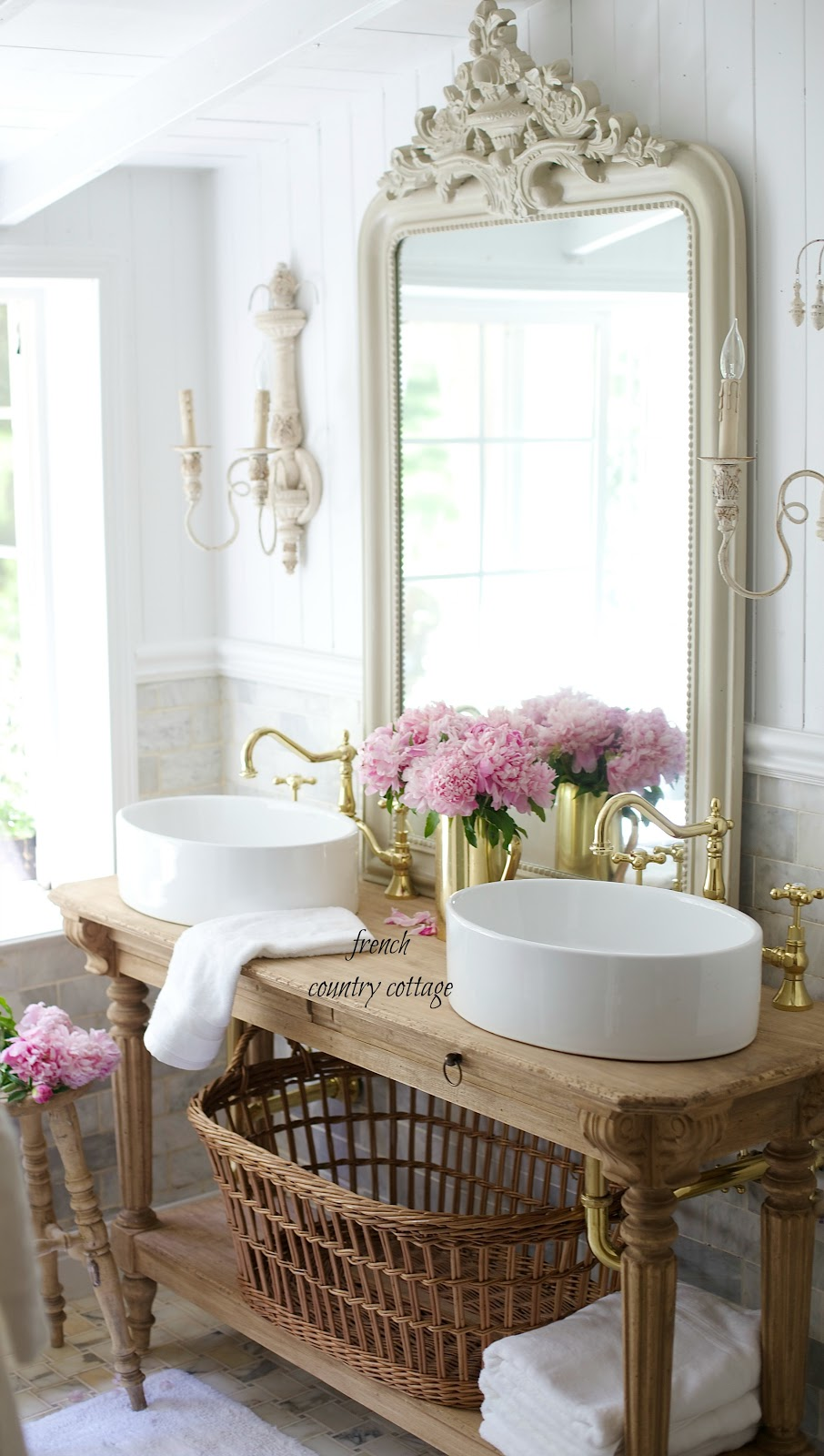 Elegant French cottage bathroom renovation peek  why I am in love already  FRENCH COUNTRY COTTAGE