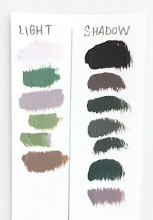 light family and shadow family test swatch chart
