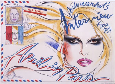 Antonio's sketch for the Bardot cover of Interview, 1975
