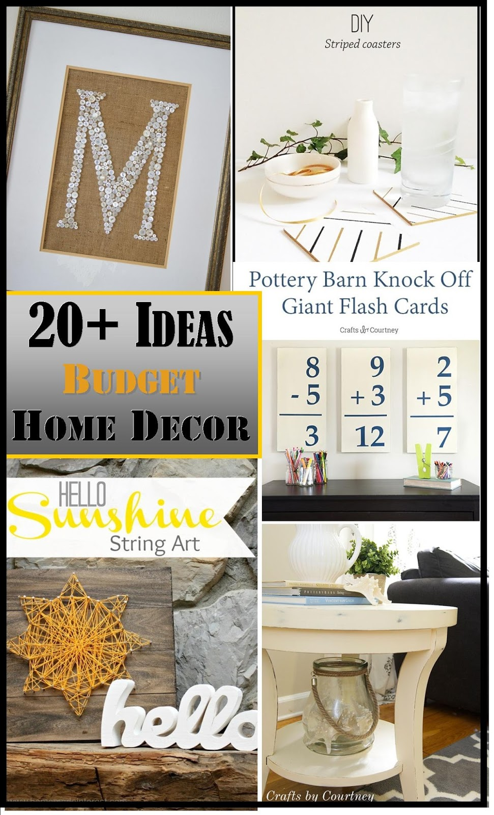 20+ ideas for budget friendly home decor