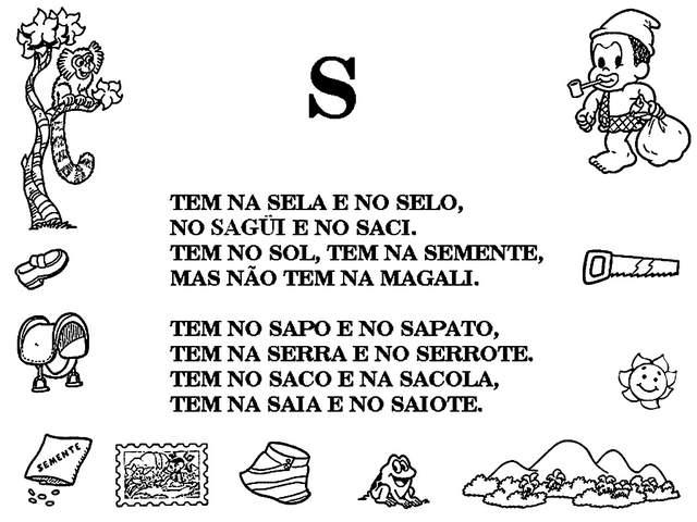 textos com a letra S turma da monica