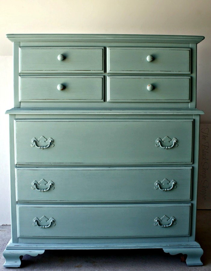 Chest of drawers painted in Duck Egg Blue.