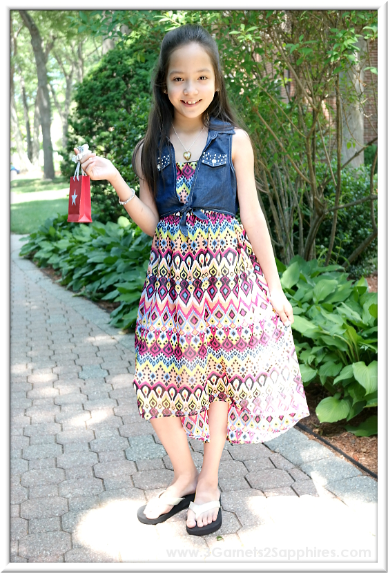 RMLA Colorful Kaleidoscope Knotted Top Hi-Low Sleeveless Dress from Sophia's Style | www.3Garnets2Sapphires.com