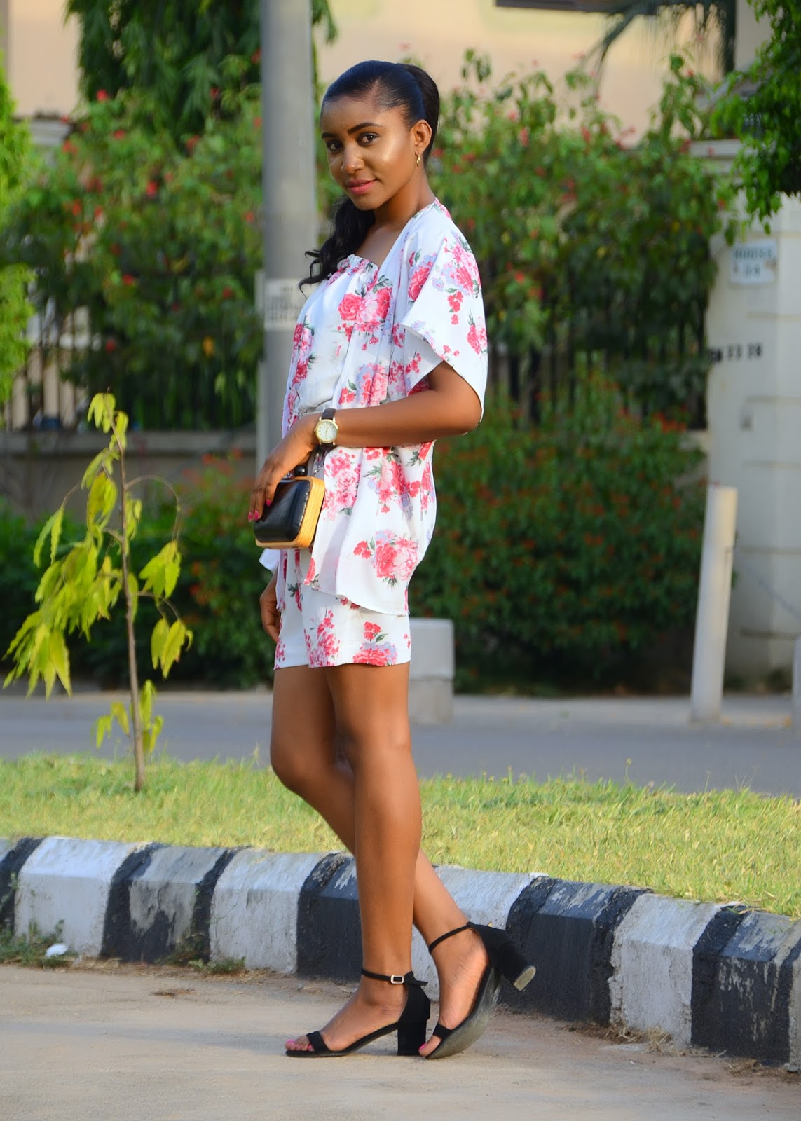 florals, kimono, romper, low block heeled sandals