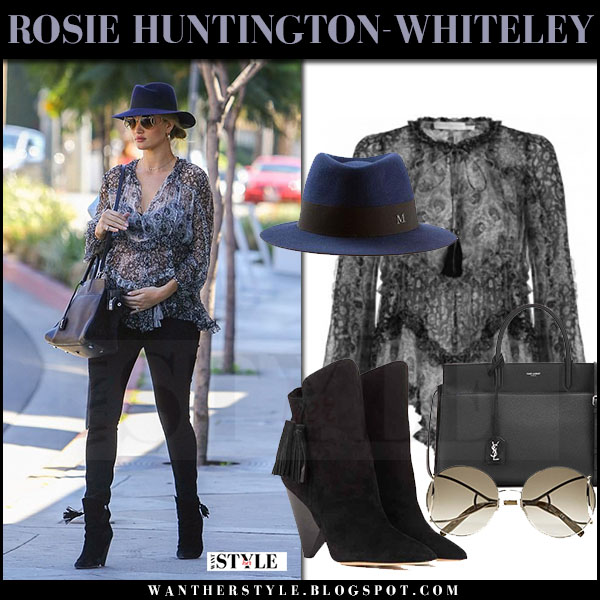 Rosie Huntington-Whiteley in sheer printed blouse, black jeans with blue hat what she wore maternity style april 2017