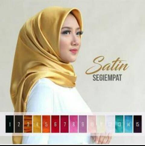 Jilbab SEGI EMPAT SATIN Mewah Untuk Pesta Tebal Cantik