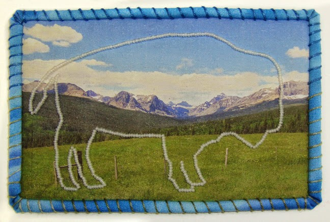 Robin Atkins, Travel Diary quilt, east entrance, Glacier National Park