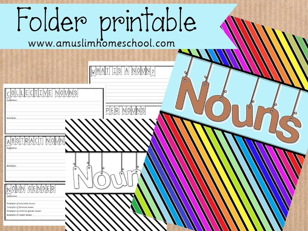 A Muslim Homeschool Printable Nouns Folder A Spin On