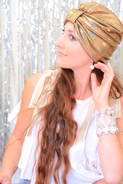 Fashion Turban in Gold Hologram - Turban Hair Wrap by Mademoiselle Mermaid