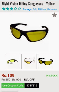 Night Vision Riding Sunglasses at Rs 109 only at Shopclues ( 88% off )
