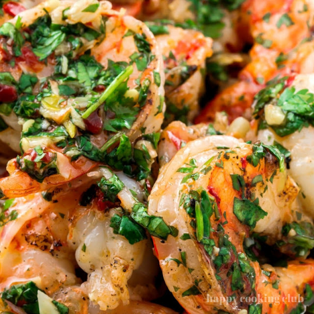 Grilled Shrimp Recipe with Roasted Garlic-Cilantro Sauce